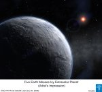 Artists impression of the 5 Earth mass planet