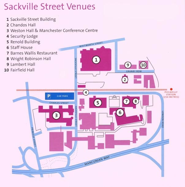 Map of Sackville street campus, showing precise location of the Conference